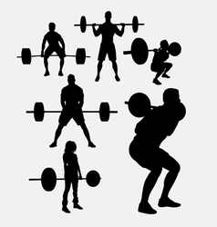 Lifting weights sporyt silhouette vector