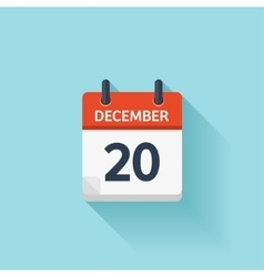 December 20 flat daily calendar icon vector
