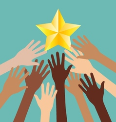 Group of diversity hand reaching for the stars vector