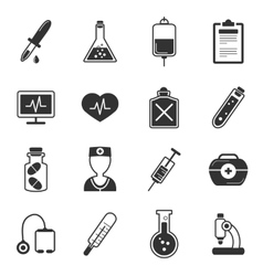 Healthcare black white icons set vector