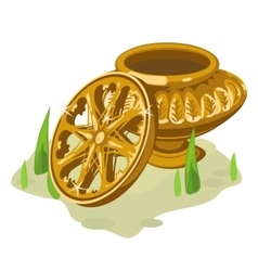 Ancient gold vase and wheel two object vector