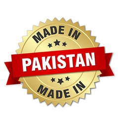 Made in pakistan gold badge with red ribbon vector