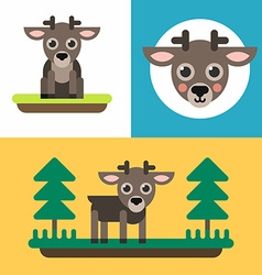 A set of three colorful bright of little reindeer vector