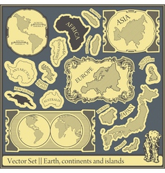 Set of different continents and islands vector