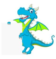 blue dragon cartoon holding blank sign vector image