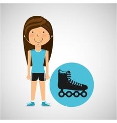 athlete girl roller skate sport style vector image vector image