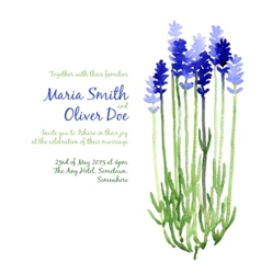 Background with blue watercolor lavender vector
