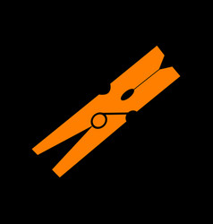 Clothes peg sign orange icon on black background vector