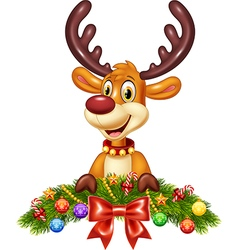Cute baby deer with christmas decoration vector