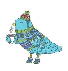 cute cartoon hand drawn Merry Christmas bird vector image vector image