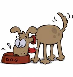 Dog eating food vector