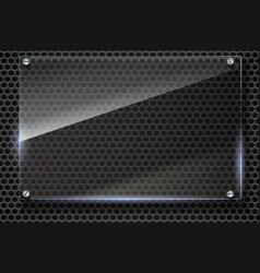 Elegant metallic mesh background with glass vector