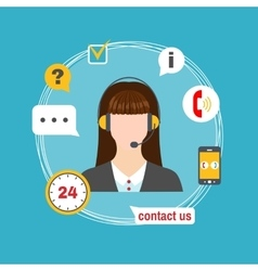 Female call center avatar icon with service icons vector