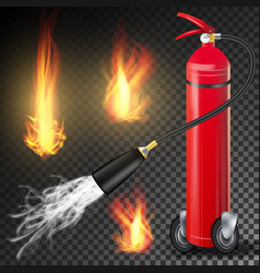fire extinguisher burning fire flame and vector image vector image