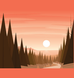Forest path and coast on the background scene vector