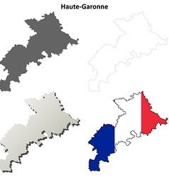 Haute-garonne midi-pyrenees outline map set vector