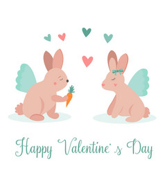 holiday card with funny rabbits in love vector image vector image