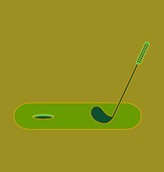 Icon in flat design golf stick and hole vector
