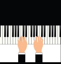 Man hand on piano vector