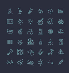 Modern thin line icons set of biochemistry vector