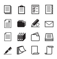 Paper stationery icon set vector