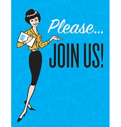 Please Join Us vintage style design vector image