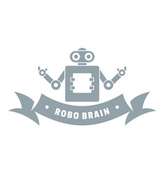 robot brain logo simple gray style vector image