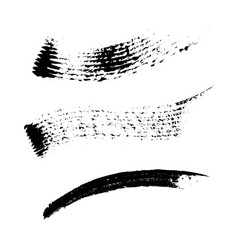 set of 3 artistic mascara black strokes vector image