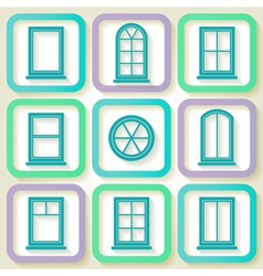 Set of 9 retro icons of windows vector image vector image