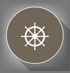 ship wheel sign white icon on brown vector image vector image