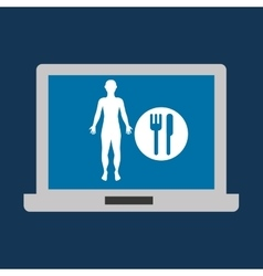 Silhouette man fitness nutrition health vector