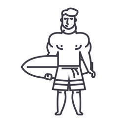 strong man with surfing board line icon vector image
