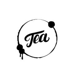 Tea hand written lettering logo label badge emblem vector image vector image