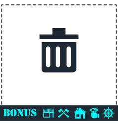 Trash can icon flat vector