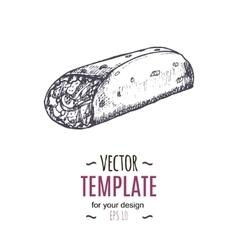 vintage burrito drawing Hand drawn vector image vector image