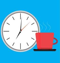 Wake up clock and cup of coffee vector