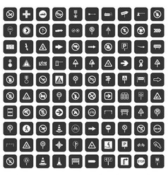100 road signs icons set black vector