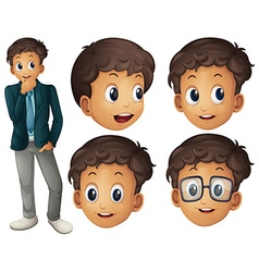 Man in suit with different facial expressions vector