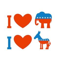 I love democrat i like republican symbol of heart vector