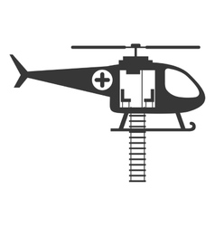 Monochrome silhouette with rescue helicopter vector
