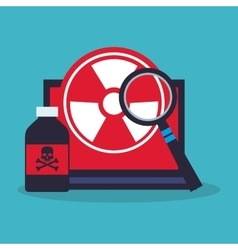 Poison bottle laptop lupe and laboratory design vector