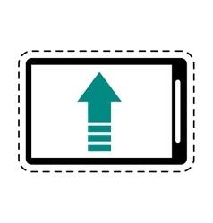 mobile phone upload arrow gadget cut line vector image