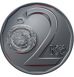 Money two czech crones coin reverse vector