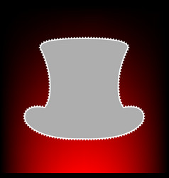 Top hat sign postage stamp or old photo style on vector