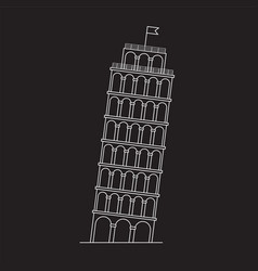 Leaning tower of pisa italy line icon vector