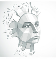 Face of a thinking woman created in low poly vector