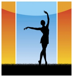 Girl dancing silhouette vector