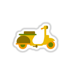 Stylish icon in paper sticker style retro scooter vector