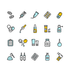 Pills related medical color thin line icon set vector