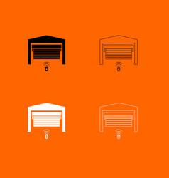 garage door black and white set icon vector image